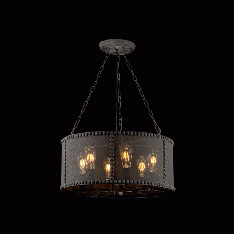 Vintage Pendant Light Carter for Dining Room Lamp-Cage Round (6xE27)