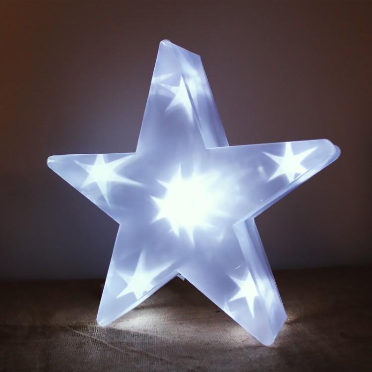 Διακοσμητικό Led Αστέρι Διάφανο 35cm Μπαταρίας Επιδαπέδιο Θερμό Φως