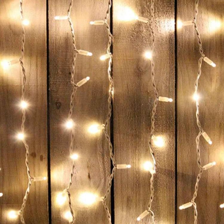 Φωτάκια LED Flash Κουρτίνα Επεκτεινόμενη 2x3m Διαφανές Καλώδιο Θερμό Λευκό Φως IP44