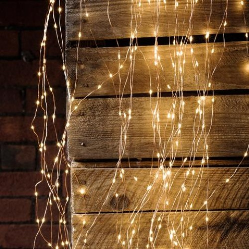 Curtain LED Copper Lights 360L with power supplier 2x2m Silver Warm White