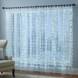 Curtain LED Copper Lights 320L with power supplier 2x2m Silver Cold White