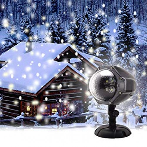 Projector Christmas White LED Snow