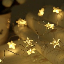 Copper String LED Lights Star 50L Warm White with Battery 5m