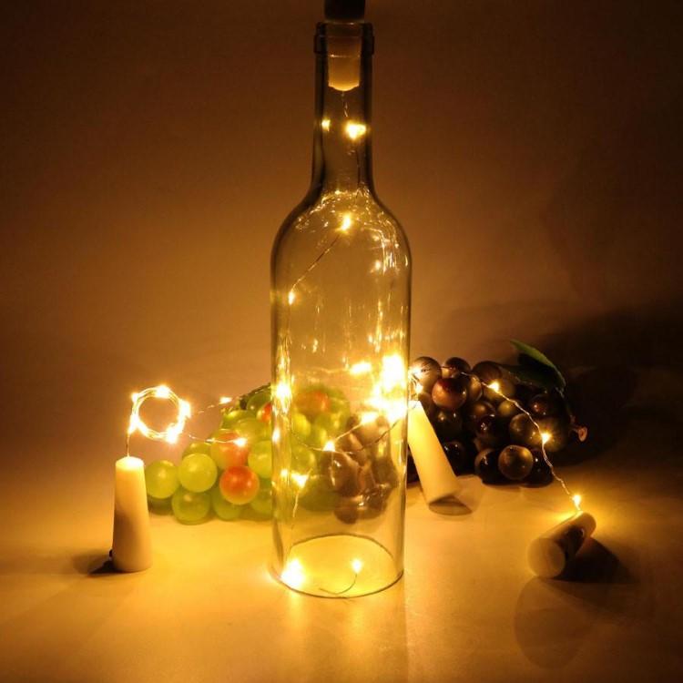 Διακοσμητικά Φωτάκια Χαλκού για Μπουκάλια Θερμό Φως 20LED 2m Μπαταρίας
