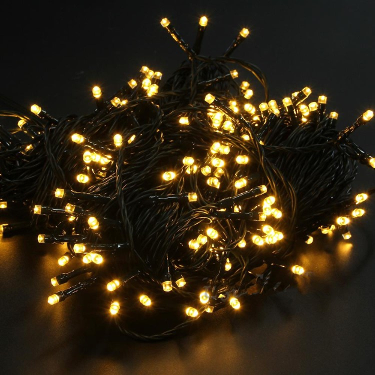 100L LED Φωτάκια με Πρόγραμμα 5m Εξωτερικού Χώρου με μετασχηματιστή Πράσινο Καλώδιο Θερμό Λευκό Λαμπάκι 31V IP44