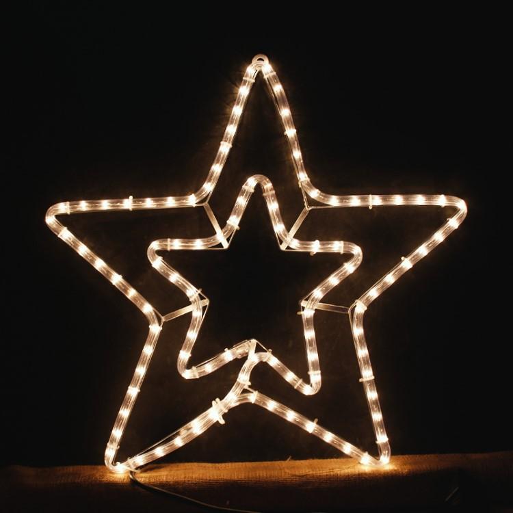 Διπλό Αστέρι 3μ Λευκό με πρόγραμμα για Χριστουγεννιάτικη Διακόσμηση