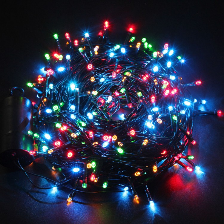 LED Expand Xmas Lights  Green Wire Multi Color  LED