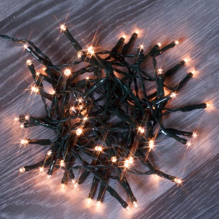 Λαμπάκια LED Χριστουγεννιάτικα Διακοσμητικά 2.40m Πράσινο Καλώδιο Θερμό Φως Μπαταρίας