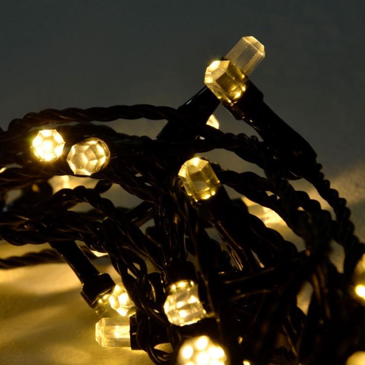 LED Φωτάκια Diamond με Πρόγραμμα 100L 13m Μαύρο Καλώδιο Θερμό Λευκό Λαμπάκι IP44
