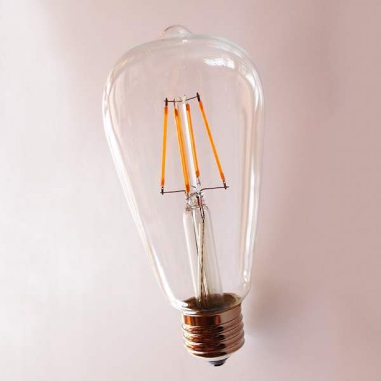 LED Filament Αχλάδι ST64 E27 6W Dimmable Θερμή