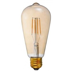 LED Filament Αχλάδι ST64 E27 6W Dimmable Amber Glass Θερμή