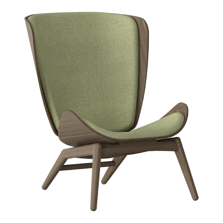 Πολυθρόνα The Reader Σκούρα Οξια με Ύφασμα Πράσινο by UMAGE