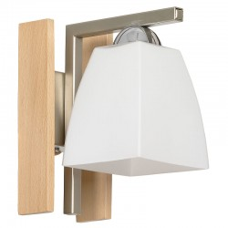 Glass Wall Lamp with wooden coating & metal base Beta