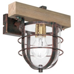 Ander Wall Lamp Vintage with Wood and Glass