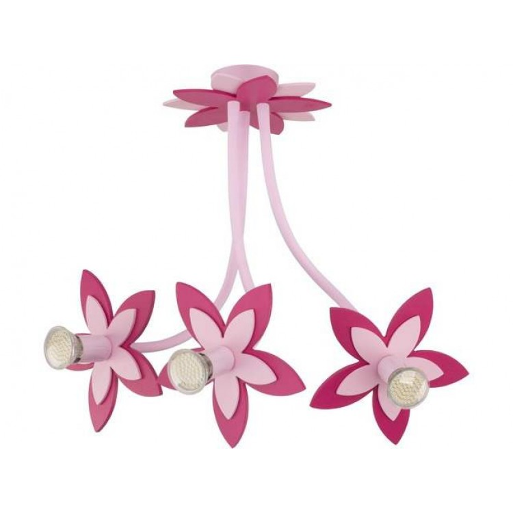 Flower Pink Hanging Lamp with 5 spot lights for Kids Room