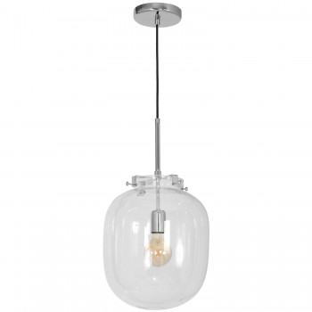 Pendant Lamp Baco Transparent Glass Globe G300mm 1xE27 with Chrome Accessories