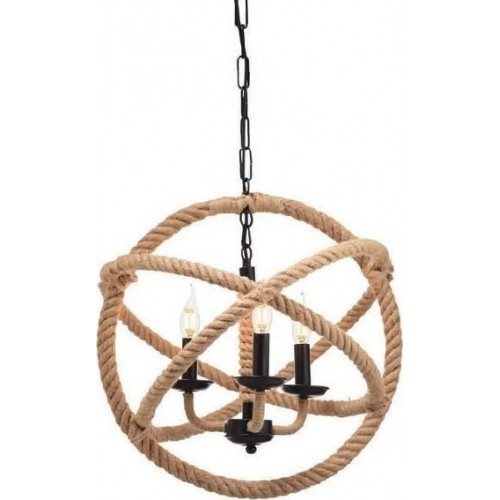Pendant Light Ball with Rope 3XE14