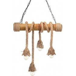 Pendant Light Wooden with Rope 4XE27