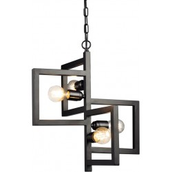 Metal Light Pendant metal black with square details 4XE27