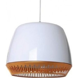Pendant Lampshade G30 Metallic White with Brass