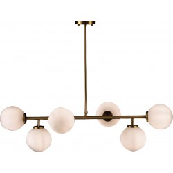 Lighting Fixture with White Glass and Bronze Gold Metal 6ΧΕ27