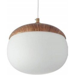 Pendant Metal Lighting Fixture G230mm Brown Wood Color with White Glass