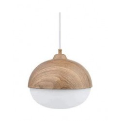 Pendant Metal Lighting Fixture G250mm Brown Wood Color with White Glass