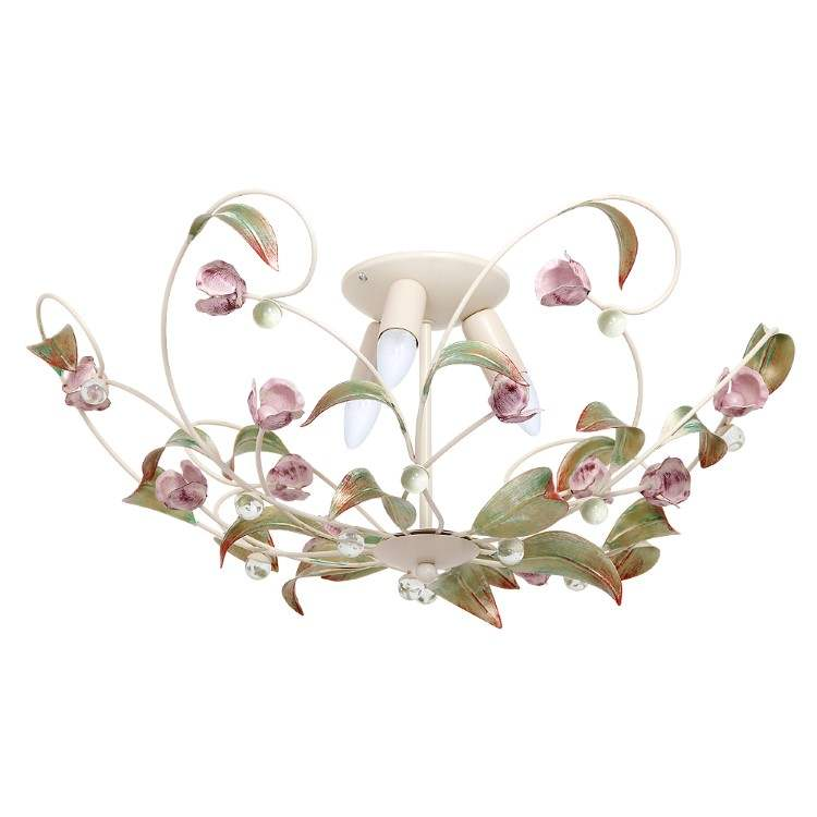Chandelier Rose cream with decorative leaves and flowers (3xE14)