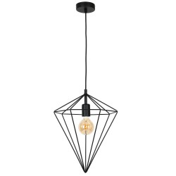 Pendant Light Basket Black Polygon 1XE27