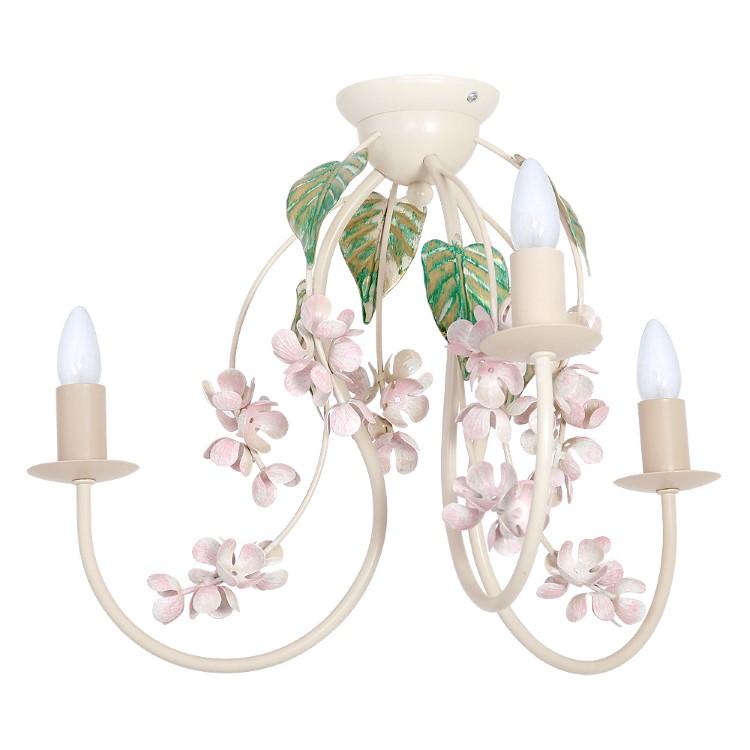 Φωτιστικό Οροφής Largo Κρεμ με 3 φώτα με διακόσμηση λουλούδια και φύλλα