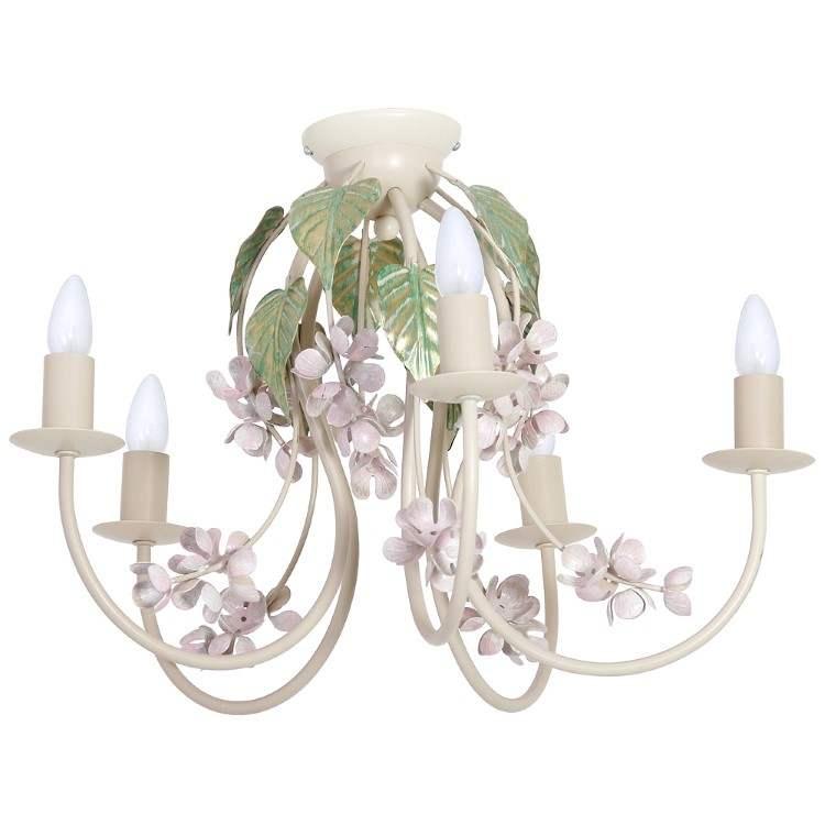 Φωτιστικό Οροφής Largo Κρεμ με 5 φώτα με διακόσμηση λουλούδια και φύλλα