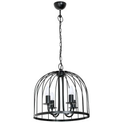 Single b Industrial Pendant Lamp-Cage Black (4xE14)
