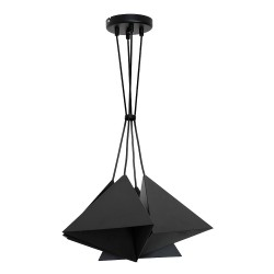Metal Pendant Industrial Lamp Set (4xE27) Black