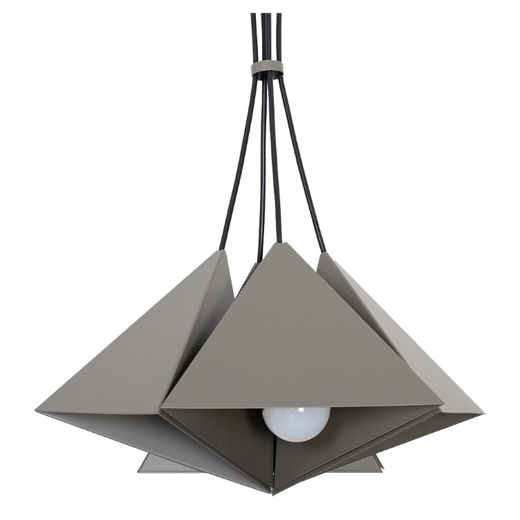 Metal Pendant Industrial Lamp Set (4xE27) Gray