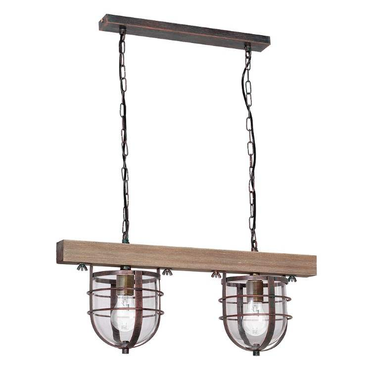 Ander Pendant Vintage Lamp with Wood and Glass (2xE27)