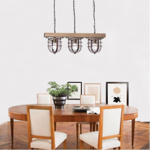 Pendant Vintage Lamp Ander with Wood and Glass (3xE27)