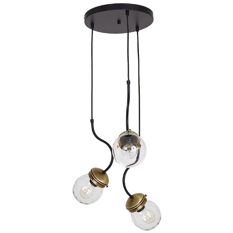 Hanging Lamp Natan Brass with Glass Protection and Black Base (3xE27)