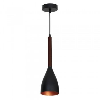 Metal Ceiling Lamp Muza Black-Gold with wooden arm