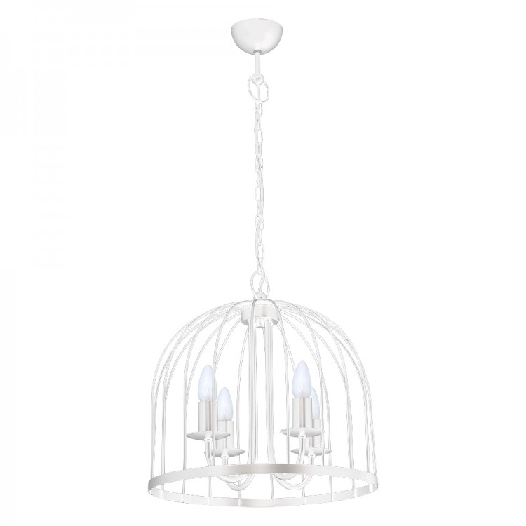 Single b Industrial Pendant Lamp-Cage White (4xE14)