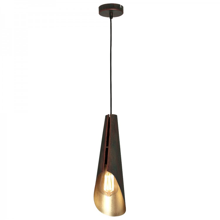 Metal Pendant Industrial Lamp Calyx brown with vintage gold bonze (1xE27)