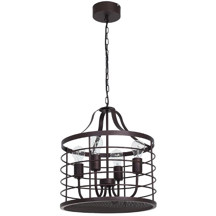 Vintage Pendant Metal Lamp-Cage Single b Brown (4xE14)