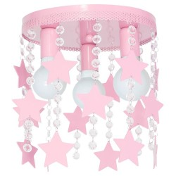 Kids Ceiling Lamp Pink 3XE27 Elza with Stars