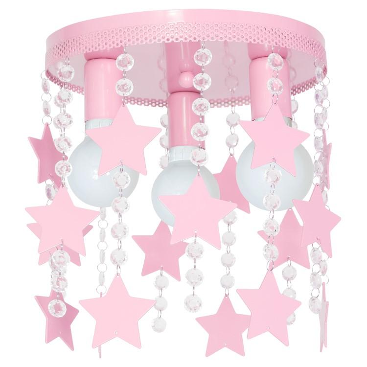Παιδικό Φωτιστικό Οροφής Elza 3-φωτο Ροζ με Αστέρια