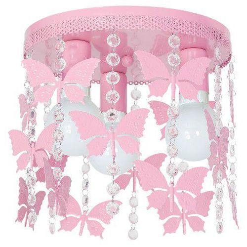 Παιδικό Φωτιστικό Οροφής ANGELICA μεταλλικό 3xΕ27 Ροζ με πεταλούδες και κρύσταλλα
