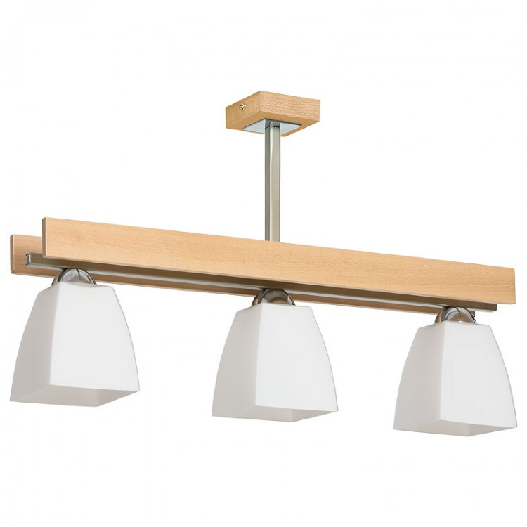 Ceiling Modern Lamp Beta with glass lampshades & wooden coating (3xE27)