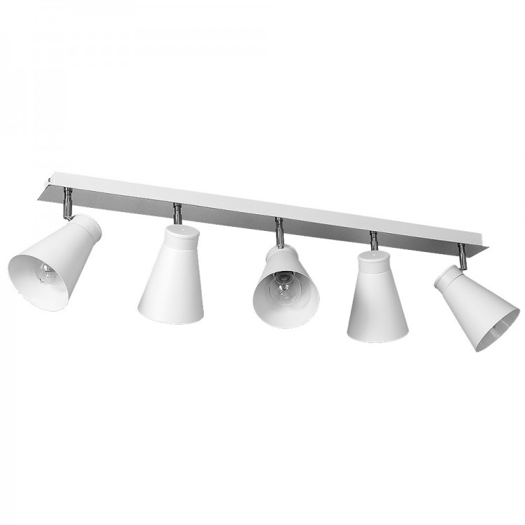 Ceiling Track Rail with Funnel Downlights White Bevan (5xE27)