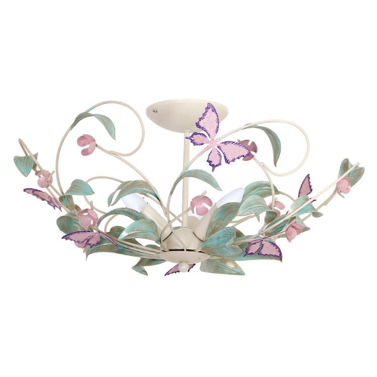 Πλαφονιέρα Summer Κρεμ με 3 φώτα με διακόσμηση πεταλούδες και φύλλα