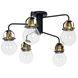 Metal Vintage Ceiling Lamp Paris Brass with glass protection (5x27)