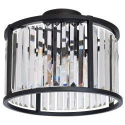 Metal Modern Ceiling Lamp Henry Black Crystal (3x27)