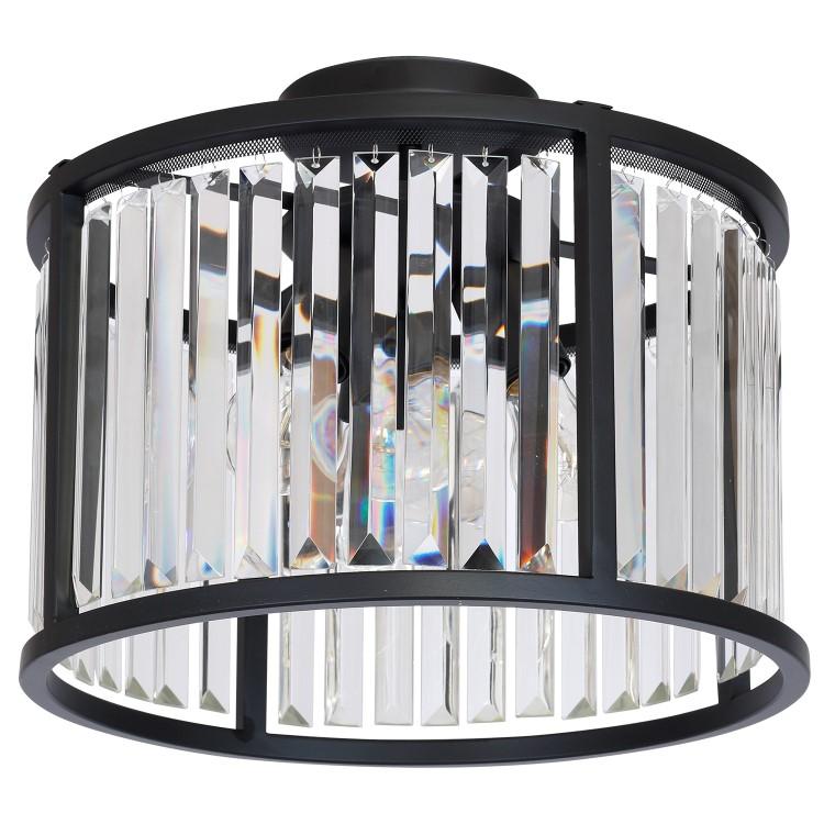 Φωτιστικό Οροφής Henry Μαύρο με Κρύσταλλα 3-φωτο